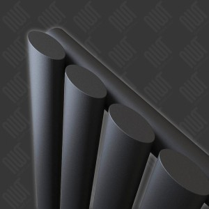 "280mm (w) x 1800mm (h) ""Brecon"" Black Oval Tube Vertical Radiator (4 Sections)"