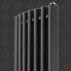 "390mm (w) x 1300mm (h) ""Titan"" Curved Black Vertical D-Profile Designer Radiator"
