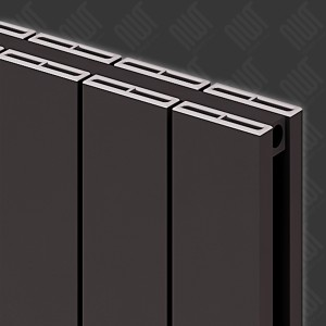 "Carisa ""Nemo Double"" Black Aluminium Flat Panel Vertical Designer Radiators (3 Sizes)"