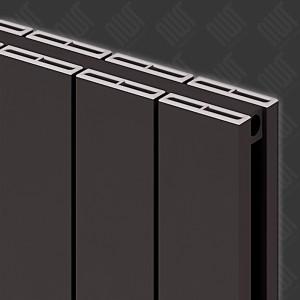 """Carisa """"Nemo Double"""" Black Aluminium Flat Panel Vertical Designer Radiators (3 Sizes)"""