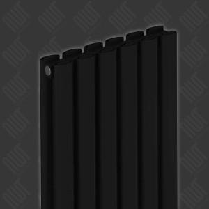 """Carisa """"Tallis Double"""" Black Aluminium Oval Tube Designer Vertical Radiators (2 Sizes)"""