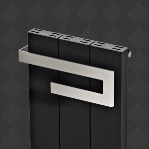 "370mm (w) x 800mm (h) Carisa ""Elvino Bath"" Black Aluminium Designer Radiator + Chrome Towel Bar"