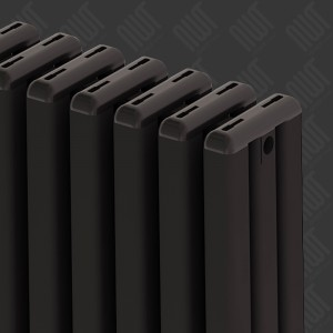 "Carisa ""Karo"" Black Aluminium Vertical Modern Column Designer Radiators (3 Sizes)"