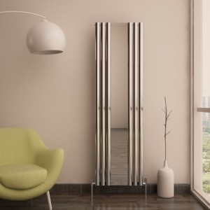 "550mm (w) x 1800mm (h) Carisa ""Tallis Mirror"" Polished Anodised Aluminium Oval Tube Designer Vertical Mirror Radiator"