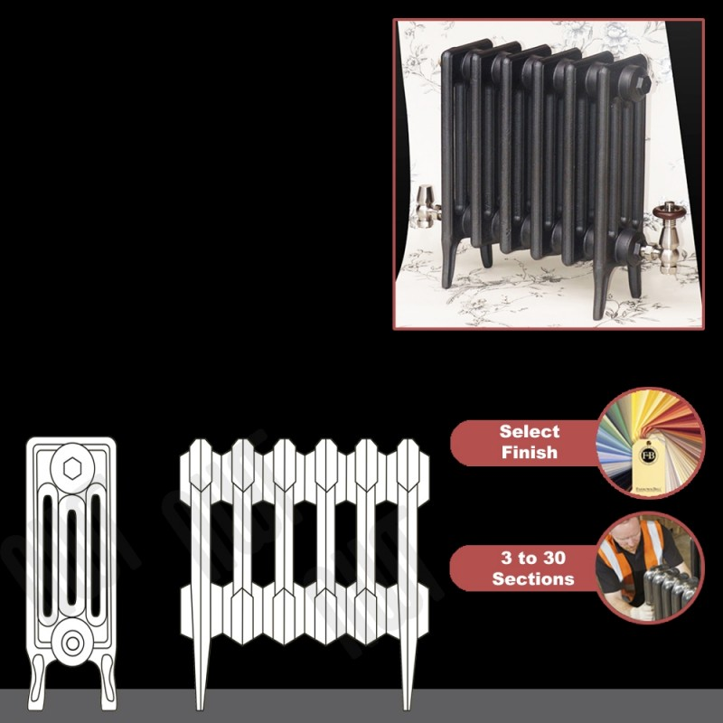 """The """"Gladstone"""" 4 Column 460mm (H) Traditional Victorian Cast Iron Radiator (3 to 30 Sections Wide) - Choose your Finish"""
