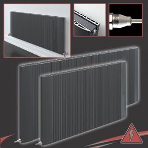 """Cariad"" Anthracite Horizontal Double Panel Electric Aluminium Radiators (2 Sizes - Single Heat)"