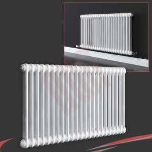 "592mm (w) x 600mm (h) ""Evora"" White Horizontal 2 Column Radiator (13 Sections)"