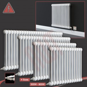 """Evora"" Horizontal Electric 2 Column White Radiators (4 Sizes - Single Heat)"