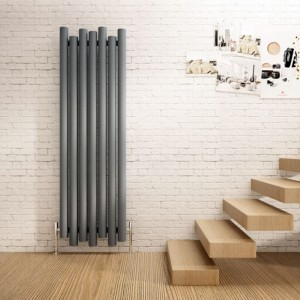 "Carisa ""Motion"" Textured Anthracite Aluminium Designer Vertical Radiators (2 Sizes)"