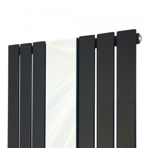 "610mm (w) x 1800mm (h) ""Corwen"" Black Flat Panel Vertical Mirror Radiator (6 Sections)"