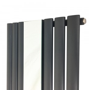 "499mm (w) x 1800mm (h) ""Brecon"" Anthracite Oval Tube Vertical Mirror Radiator (6 Sections)"
