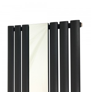 "499mm (w) x 1800mm (h) ""Brecon"" Black Oval Tube Vertical Mirror Radiator (6 Sections)"