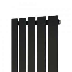 "360mm (w) x 1850mm (h) ""Corwen"" Black Flat Panel Vertical Radiator (5 Sections)"