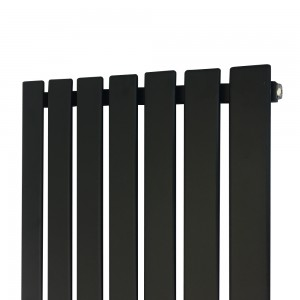 "516mm (w) x 1850mm (h) ""Corwen"" Black Flat Panel Vertical Radiator (7 Sections)"