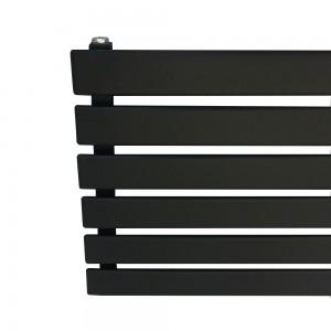 "1850mm (w) x 440mm (h) ""Corwen"" Black Flat Panel Horizontal Radiator (6 Sections)"