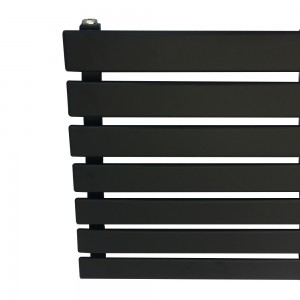 "1850mm (w) x 516mm (h) ""Corwen"" Black Flat Panel Horizontal Radiator (7 Sections)"