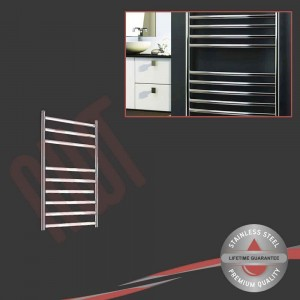 350mm (w) x 600mm (h) Polished Stainless Steel Towel Rail