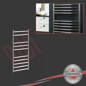 350mm (w) x 800mm (h) Polished Stainless Steel Towel Rail