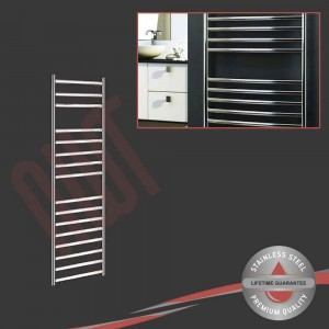 350mm (w) x 1200mm (h) Polished Stainless Steel Towel Rail