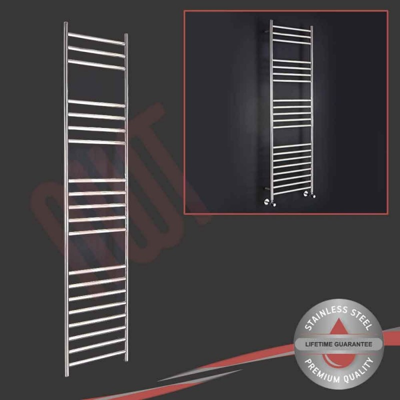 350mm (w) x 1600mm (h) Polished Stainless Steel Towel Rail