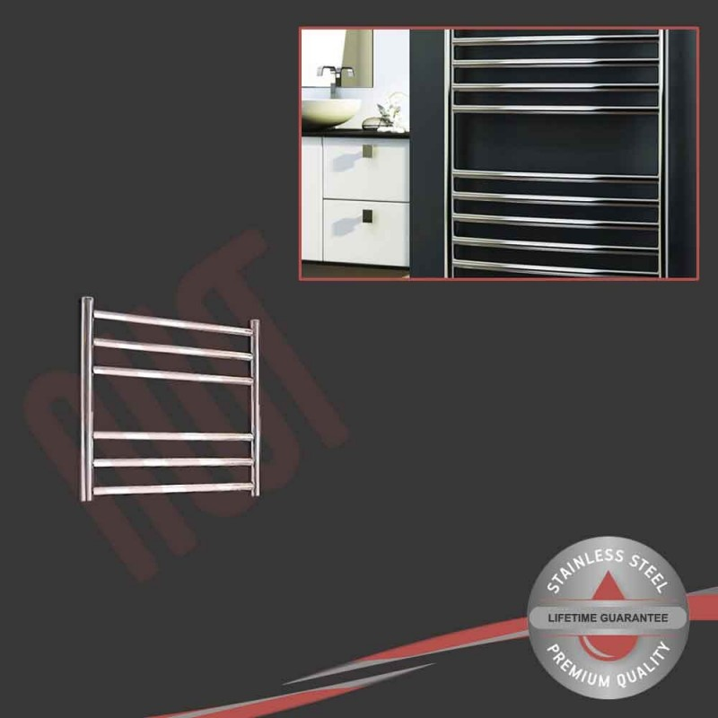 500mm (w) x 430mm (h) Polished Stainless Steel Towel Rail