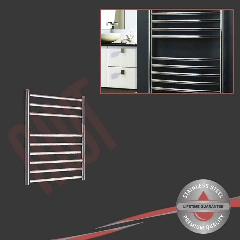 500mm (w) x 600mm (h) Polished Stainless Steel Towel Rail