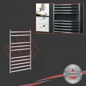 500mm (w) x 800mm (h) Polished Stainless Steel Towel Rail