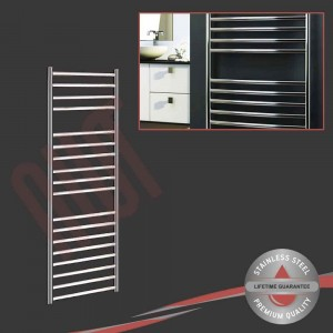 500mm (w) x 1400mm (h) Polished Stainless Steel Towel Rail