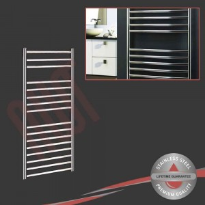 600mm (w) x 1200mm (h) Polished Stainless Steel Towel Rail