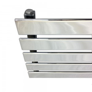 "1250mm (w) x 360mm (h) ""Corwen"" Chrome Flat Panel Horizontal Radiator (5 Sections)"