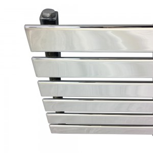 "1850mm (w) x 440mm (h) ""Corwen"" Chrome Flat Panel Horizontal Radiator (6 Sections)"