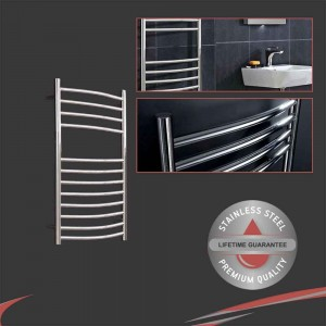 """500mm (w) x 800mm (h) Polished Curved """"Stainless Steel"""" Towel Rail"""