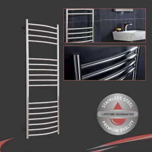 """500mm (w) x 1200mm (h) Polished Curved """"Stainless Steel"""" Towel Rail"""