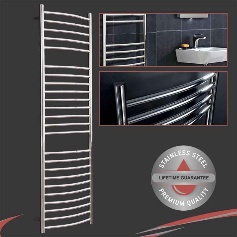 """500mm (w) x 1500mm (h) Polished Curved """"Stainless Steel"""" Towel Rail"""