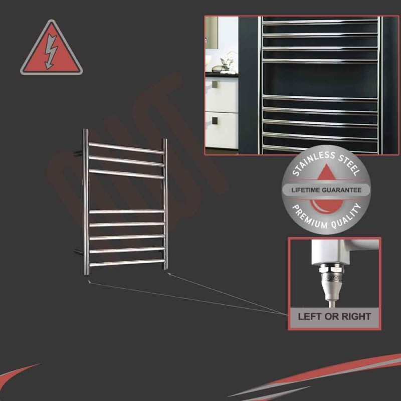 350mm (w) x 600mm (h) Electric Stainless Steel Towel Rail (Single Heat or Thermostatic Option)