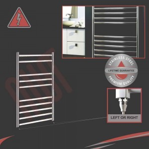 500mm (w) x 800mm (h) Electric Stainless Steel Towel Rail (Single Heat or Thermostatic Option)