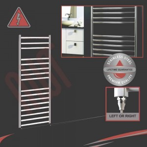 500mm (w) x 1200mm (h) Electric Stainless Steel Towel Rail (Single Heat or Thermostatic Option)