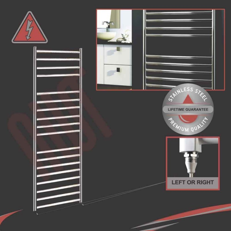 500mm (w) x 1400mm (h) Electric Stainless Steel Towel Rail (Single Heat or Thermostatic Option)