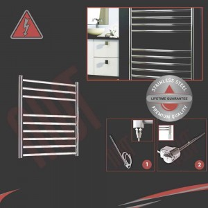 600mm (w) x 600mm (h) Electric Stainless Steel Towel Rail (Single Heat or Thermostatic Option)
