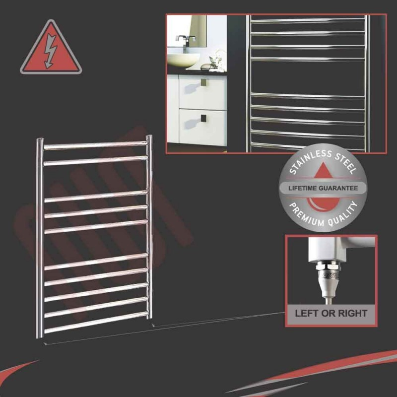 600mm (w) x 800mm (h) Electric Stainless Steel Towel Rail (Single Heat or Thermostatic Option)