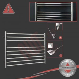 "1000mm (w) x 600mm (h) Electric Polished ""Stainless Steel"" Towel Rail (Single Heat or Thermostatic Option)"