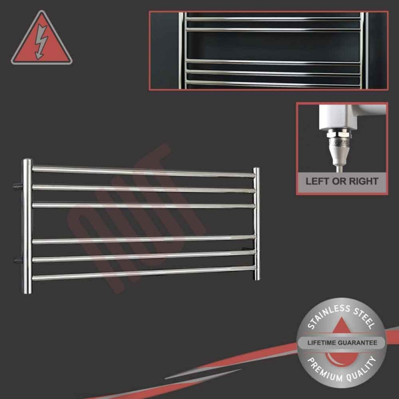 """1200mm (w) x 400mm (h) Electric Polished """"Stainless Steel"""" Towel Rail (Single Heat or Thermostatic Option)"""