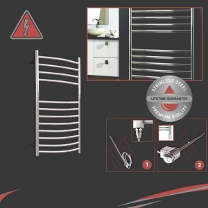 "1200mm (w) x 600mm (h) Electric Polished ""Stainless Steel"" Towel Rail (Single Heat or Thermostatic Option)"