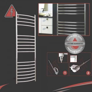 "1200mm (w) x 500mm (h) Electric Polished ""Stainless Steel"" Towel Rail (Single Heat or Thermostatic Option)"