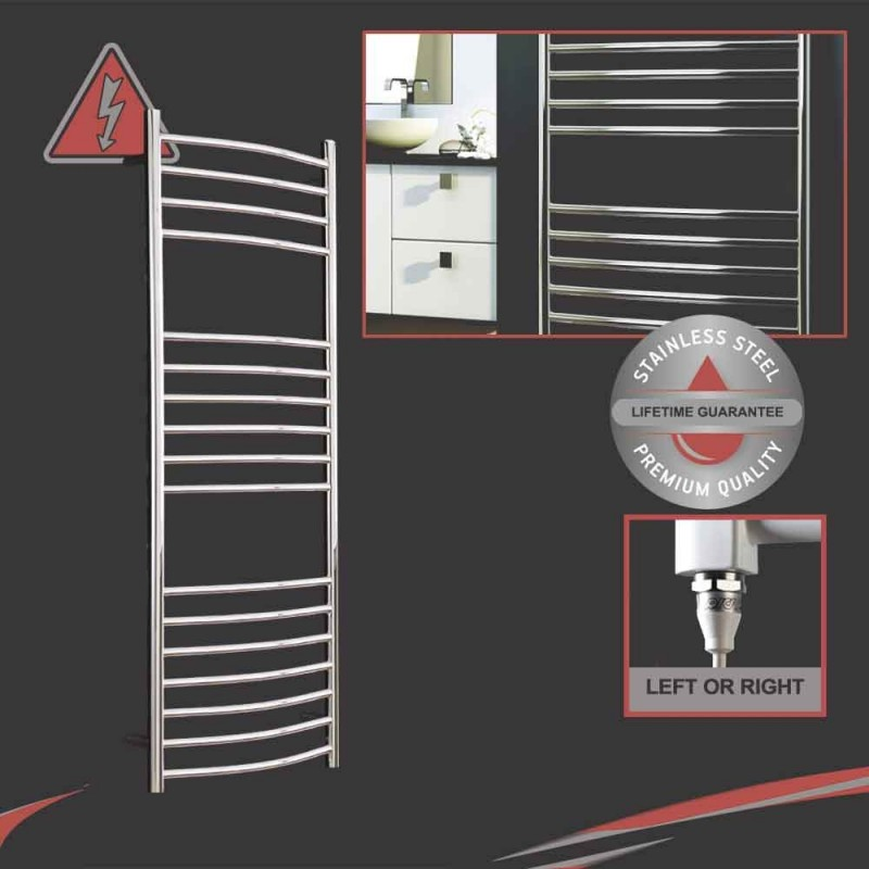 """1200mm (w) x 500mm (h) Electric Polished """"Stainless Steel"""" Towel Rail (Single Heat or Thermostatic Option)"""