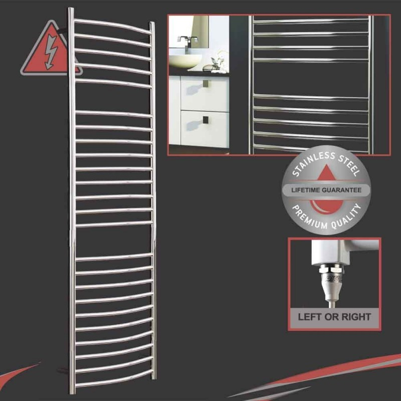 """1200mm (w) x 600mm (h) Electric Polished """"Stainless Steel"""" Towel Rail (Single Heat or Thermostatic Option)"""