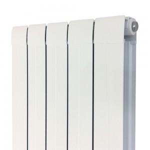 """405mm (w) x 1800mm (h) """"Vesuvius"""" White Vertical Aluminium Radiator (5 Extrusions)"""