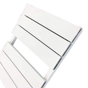 "500mm (w) x 1200mm (h) ""Flow"" White Single Aluminium Towel Rail (13 Extrusions)"