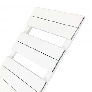 "500mm (w) x 800mm (h) ""Flow"" White Single Aluminium Towel Rail (7 Extrusions)"