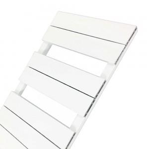 "500mm (w) x 800mm (h) ""Flow"" White Single Aluminium Towel Rail (7 Extrusions)"